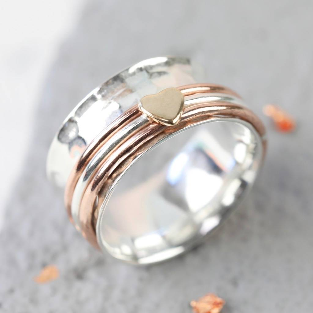 Sterling Silver And Rose Gold Heart Spinning Ring