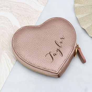 Personalised Name Luxury Leather Heart Purse