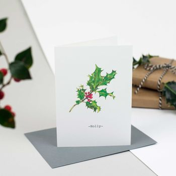 Holly Personalised Illustrated Christmas Card