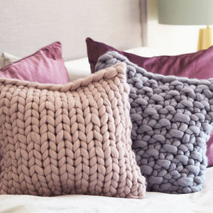 Classic Chunky Knitted Panel Cushion - cosy home updates