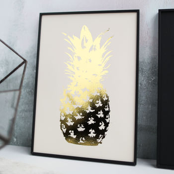 Gold Pineapple on Natural Paper