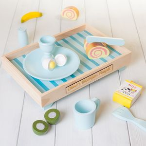 Personalised Blue Wooden Play Kitchen Breakfast Set - traditional toys & games