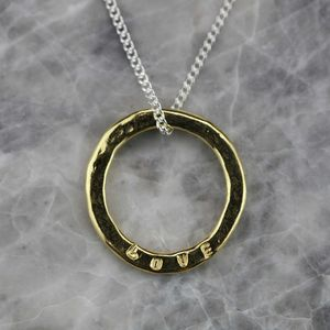 Gold Hammered Sentiment 'Love' Necklace