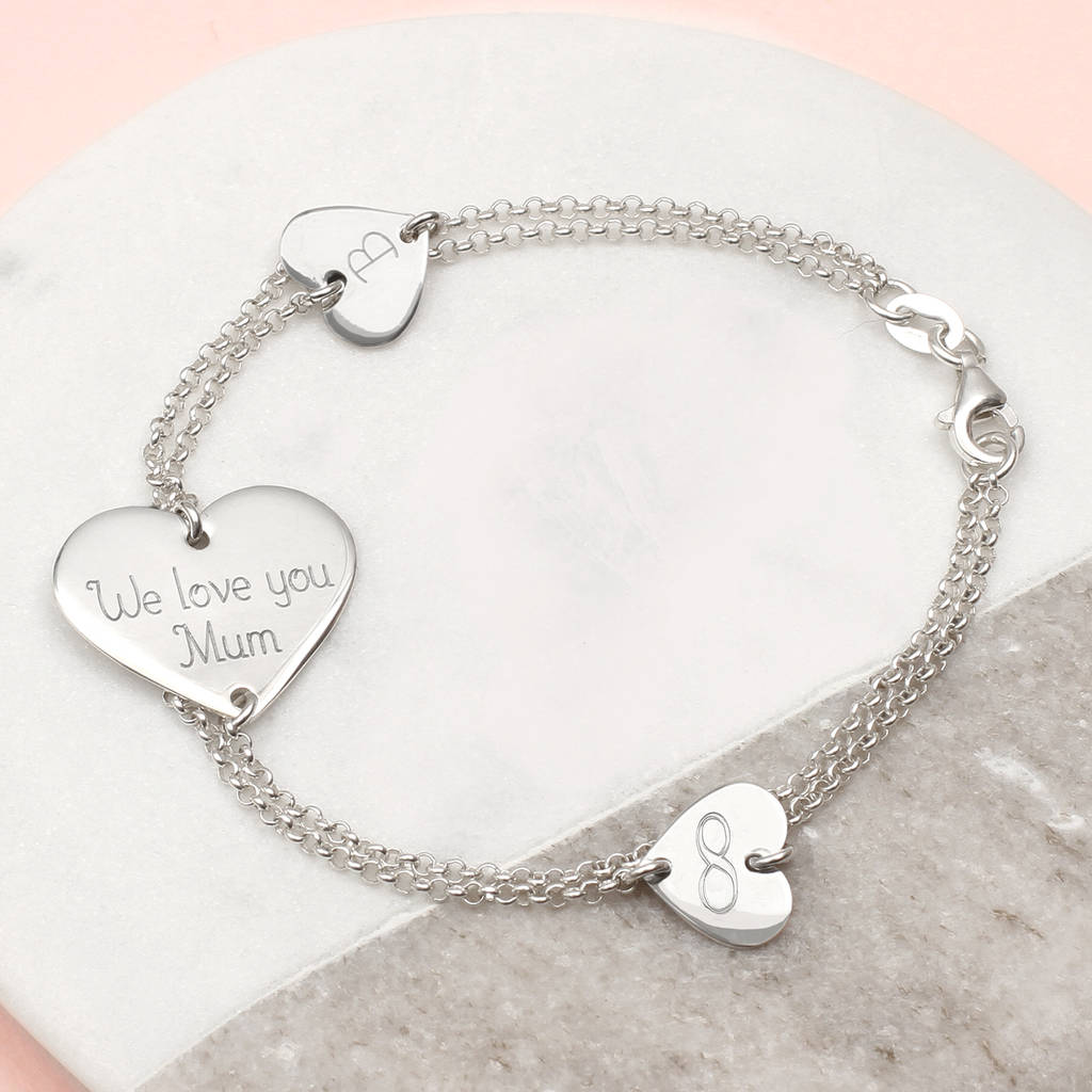 Personalised Sterling Silver Link Heart Bracelet