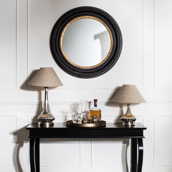 Wilton Black And Gold Rusty Round Mirror