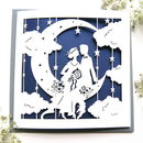 Wedding Card Paper Moon In Midnight Blue