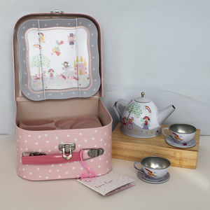 Fairy And Unicorn Tea Set In Carry Case - pretend play & dressing up