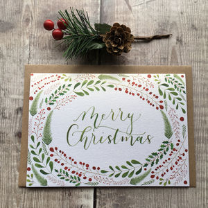 'Merry Christmas' Hand Lettered Christmas Card - christmas cards