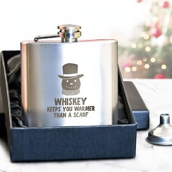 Snowman Engraved Hip Flask
