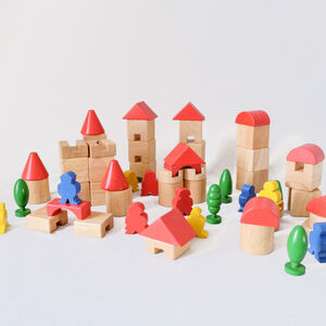 60+ Pieces Wooden Castle Theme With People And Trees
