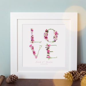 Personalised Floral Love Print - personalised wedding gifts