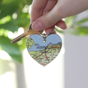 Personalised Map Location Heart Keyring