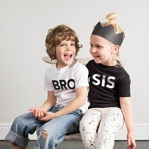'Bro/Sis' T Shirt Sibling Set - clothing
