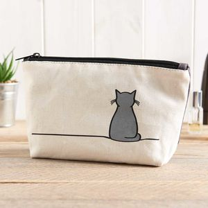 Sitting Cat Zip Bag - make-up bags