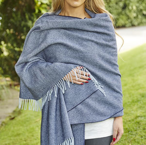 Giant Wrap / Pashmina Blue Merino Collection - women's accessories