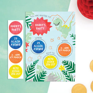 Personalised Dinosaur Invitations With Sticker Activity - invitations