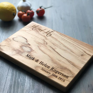 'Mr And Mrs' Olive Wood Chopping/Cheese Board - personalised gifts for couples