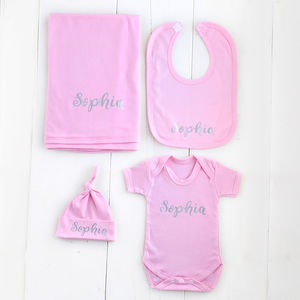 Personalised Pink Cotton Baby Gift Set