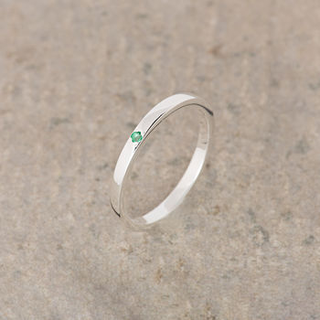 Emerald Silver Stacking Ring May Birthstone