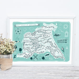 East Riding Of Yorkshire County Map Print - posters & prints