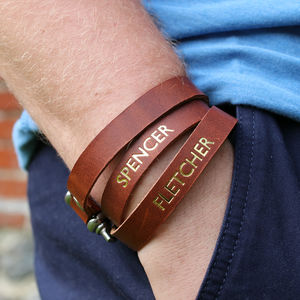 Personalised Men's Bracelet, Leather Personalisation