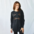 'Cat Face' Halloween Women's Sweatshirt Jumper Dress