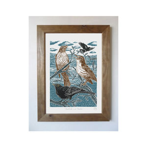 Blackbirds And Thrushes Linocut Poster Print - posters & prints