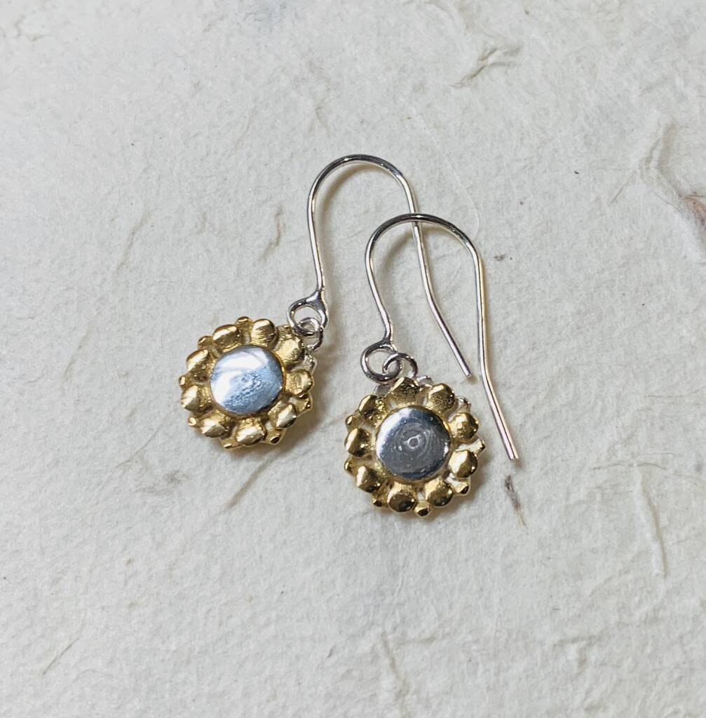 Silver And Gold Sunflower Drop Earrings