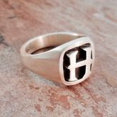 Personalised Initial Cushion Silver Signet Ring - men's jewellery