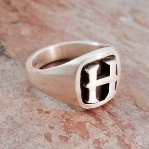 Personalised Initial Cushion Silver Signet Ring