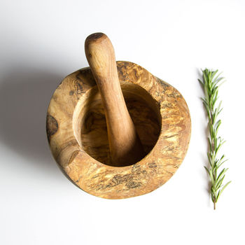 Rustic Olive Wood Pestle And Mortar