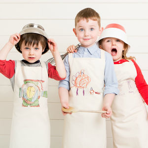 Personalised Children's Apron With Their Drawing - baking