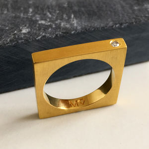 Thin Gold Band Set With A Diamond - wedding rings
