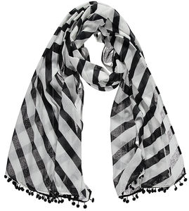 Miss Pompom Diagonal Stripe Scarf