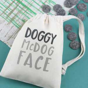 Personalised Doggy Mc Dog Face Bag With Treats - food, feeding & treats
