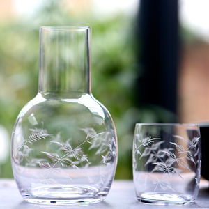 Fern Design Carafe And Glass - tableware