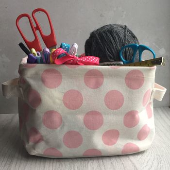 Pink Spotty Storage Basket