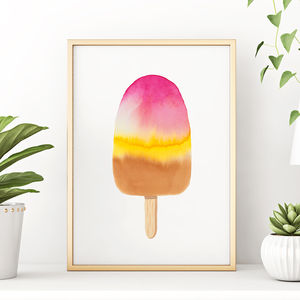 Stripy Ice Lolly Original Watercolour Painting