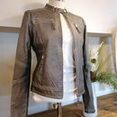 Faux Leather Biker Jacket In Faded Grey