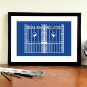 'Ninian Memorial Gates' Minimalist Cardiff City Print - activities & sports