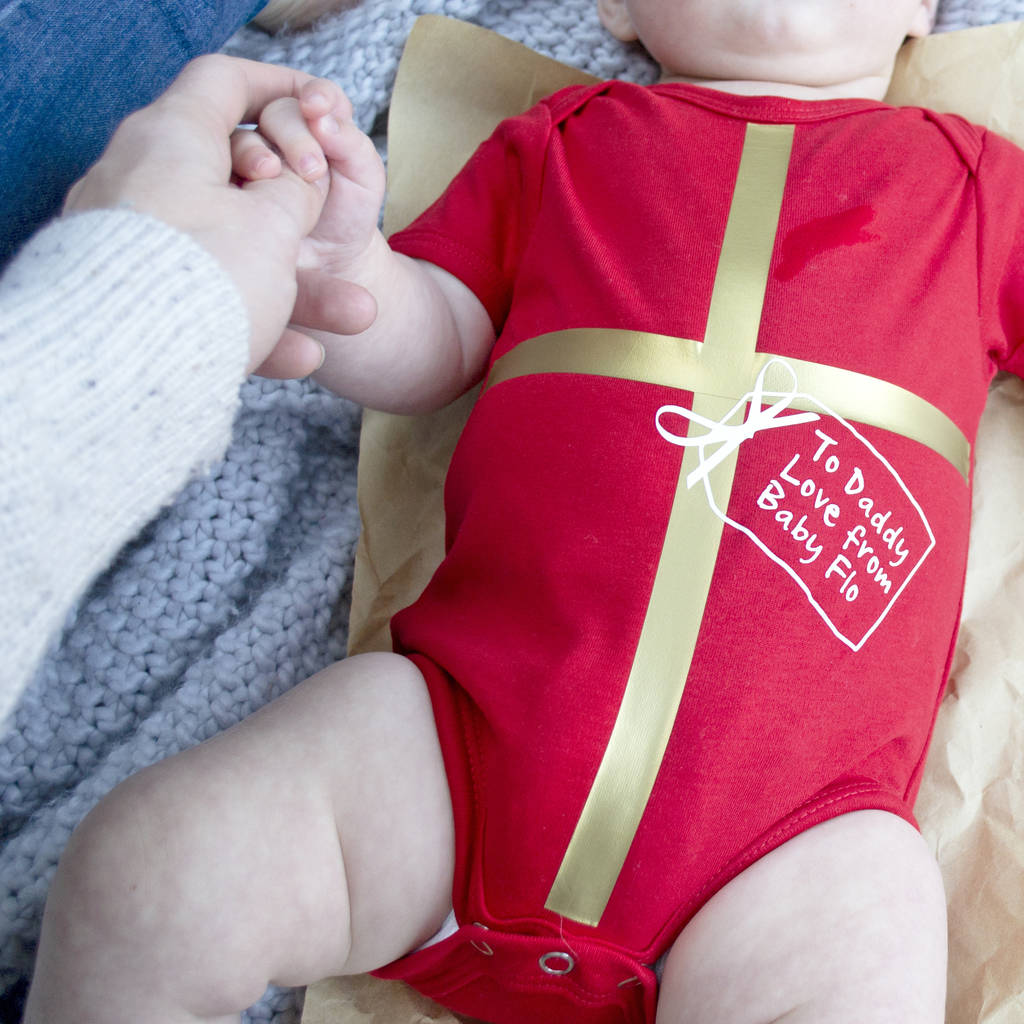 First Christmas All Wrapped Up Personalised Babygrow