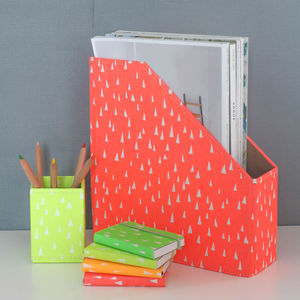 Recycled Fluoro Brights Desk Tidy Set - desk accessory sets