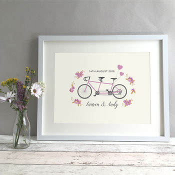 Tandem Personalised Wedding Or Anniversary Gift Print