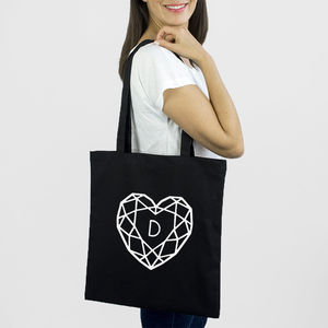 Jewelled Heart Personalised Initial Tote Bag