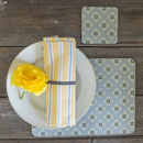 Garden Ochre Grey Set Of Four Melamine Coasters