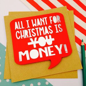 Papercut Christmas Card 'All I Want Is Money' - cards