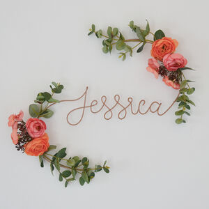 Customised Flowers Wire Name Sign