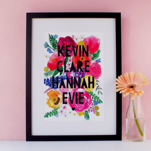 Personalised Family Watercolour Florals Papercut Print - gifts for mothers