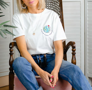 Embroidered Love Your Planet Organic T Shirt