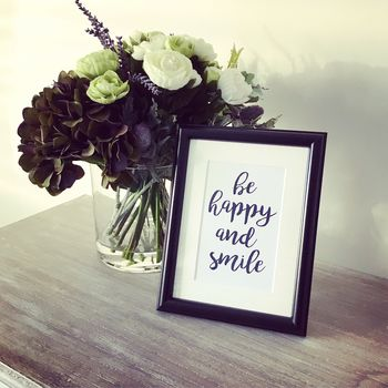Framed Be Happy And Smile Typography Print